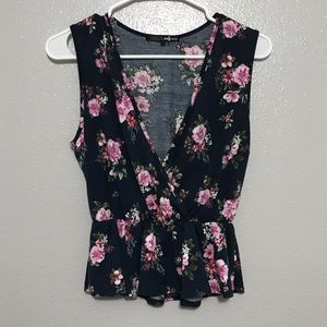 Daisy May Navy Sleeveless Floral Faux Wrap Top